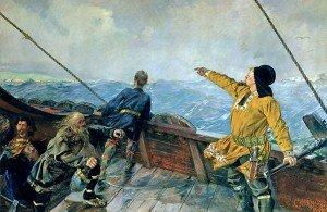 Peinture de Christian Krohg (1893)   dépeignant la découverte de l'Amérique par Leif Eiriksson «Leiv Eriksson oppdager Amerika»
