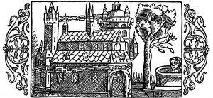 Gravure réalisé en 1555 dans L'Historia de Gentibus Septentrionalibus par Olaus Magnus représentant le temple d'Uppsala comme décrit par Adam de Brême entourer d'une chaîne d'or sur le long de sa façade, devant un puis de pierre et d'arbres.