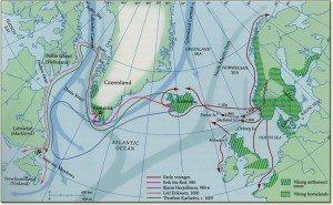 Carte des voyages vers le Goenland et le Vinland